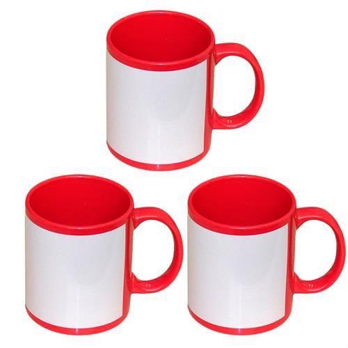 Caneca Cerâmica Vermelha com Tarja Branca 325ml Resinada P/ Sublimação (B018) - 36 Unidades (Caixa Fechada)