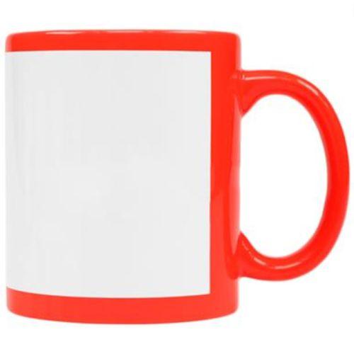 Caneca Cerâmica Vermelha Neon com Tarja Branca 325ml Resinada P/ Sublimação (B130) - 01 Unidade