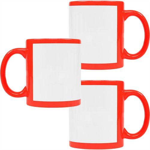 Caneca Cerâmica Vermelha Neon com Tarja Branca 325ml Resinada P/ Sublimação (B130) - 36 Unidades (Caixa Fechada)