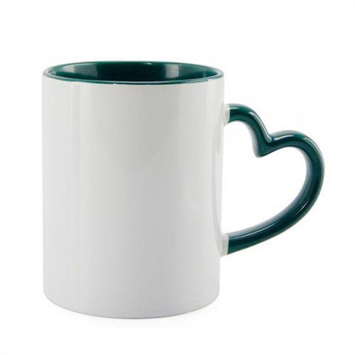 Caneca Cerâmica Branca Com Alça de Coração e Interior em Verde Escuro 325ml Resinada P/ Sublimação (B119) - 36 Unidades (Caixa Fechada)