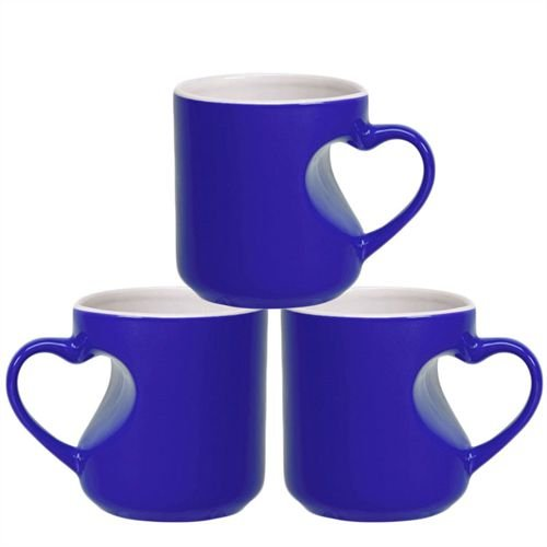 Caneca Cerâmica Mágica Azul Formato de Coração 325ml Resinada P/ Sublimação (B100) - 36 Unidades (Caixa Fechada)
