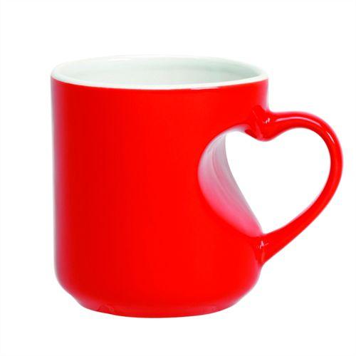Caneca Cerâmica Mágica Vermelha Formato de Coração 325ml Resinada P/ Sublimação (B099) - 01 Unidade