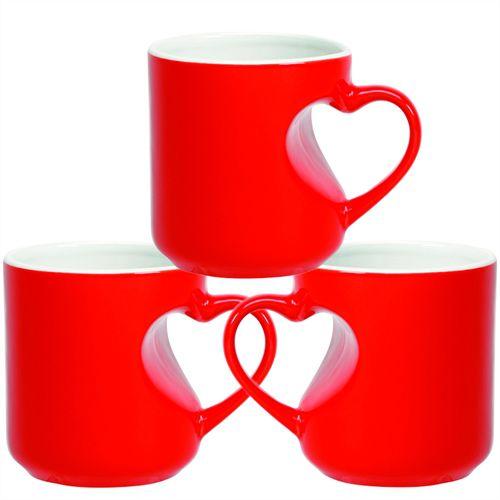 Caneca Cerâmica Mágica Vermelha Formato de Coração 325ml Resinada P/ Sublimação (B099) - 36 Unidades (Caixa Fechada)