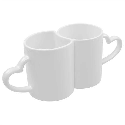 Caneca Dupla Kit Love Cerâmica Branca 225ml+310ml Resinada para Sublimação ShopVirtua3000® (335) - 18 Unidades (Par)