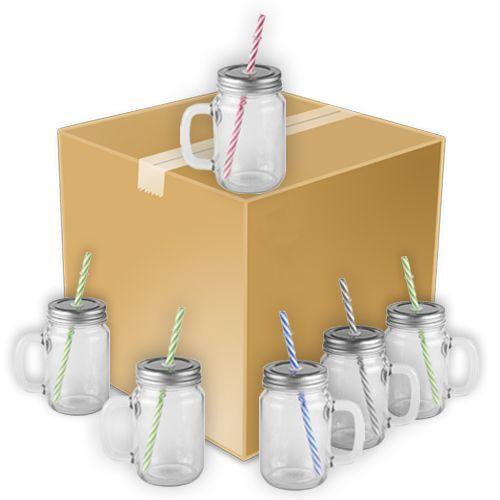 Caneca Mason Jar Com Tampa e Canudo Estilo Jarra em Vidro Cristal 400ml Resinada para Sublimação Mecolour (B180) - 24 Unidades (Caixa Fechada)