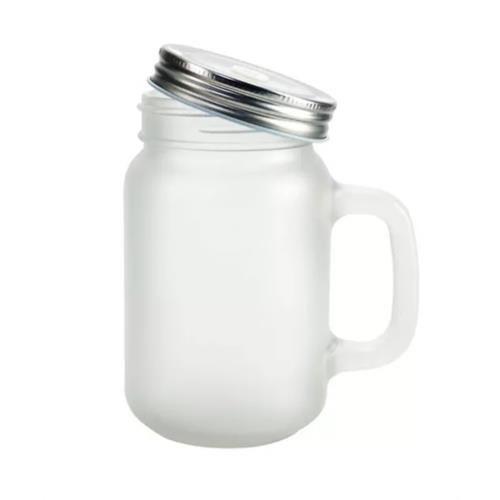 Caneca Mason Jar Com Tampa e Canudo Estilo Jarra em Vidro Jateado 400ml Resinada para Sublimação Mecolour (B181) - 24 Unidades (Caixa Fechada)