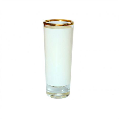 Copinho Tequila Cilíndrico 90ml de Vidro Resinado Com Borda Dourada P/Sublimação (B045) - 01 Unidade