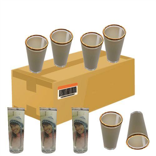 Copinho Tequila Cilíndrico 90ml de Vidro Resinado Com Borda Dourada P/Sublimação (B045) - 12 Unidades (Caixa Fechada)