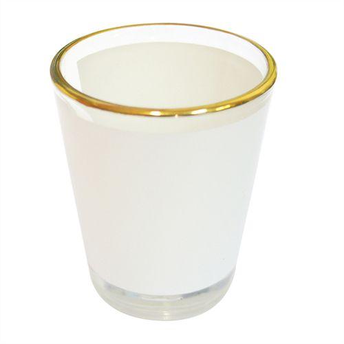 Copinho Tequila Cônico 50ml de Vidro Resinado Com Borda Dourada P/Sublimação ShopVirtua3000® (479) - 01 Unidade