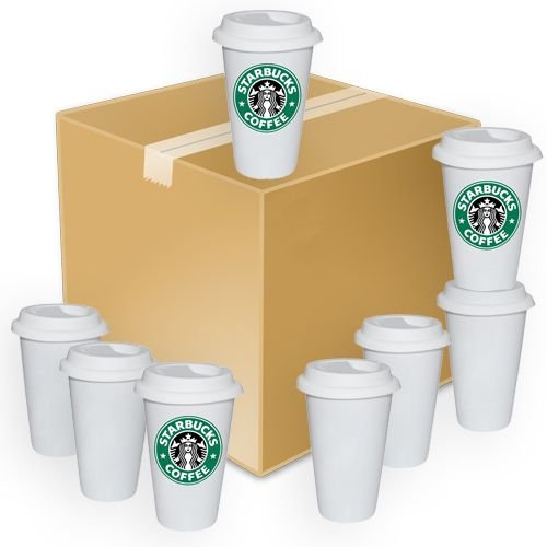 Copo Cerâmica Branca Café StarBucks 310ml Resinada P/ Sublimação (B136) - 24 Unidades (Caixa Fechada)