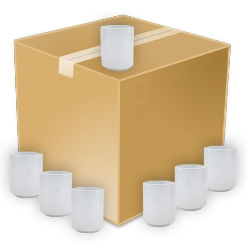 Copo de Chá Japonês em Cerâmica Branca 325ml Resinada P/ Sublimação (B040) - 36 Unidades (Caixa Fechada)