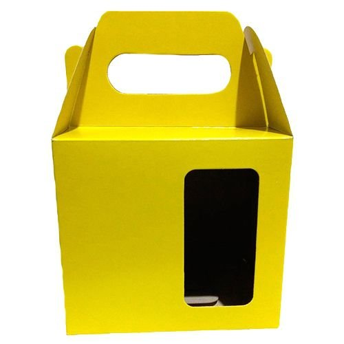 Caixa Amarela Com Brilho, Com Alça e Com Janela Para Embalar Caneca de 325ml (PH007) - 100 Unidades