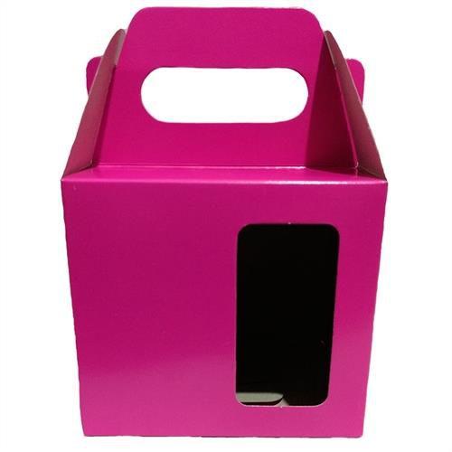 Caixinha para Caneca Pink Com Visor e Alça Reforçada Em Papel Duplex 275g 10cm x 10cm para Canecas ou Artigos Diversos (AL3006) - 100 Unidades