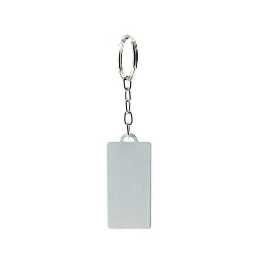 Chaveiro Formato Retangular Grande de Metal Branco Resinado para Sublimação - Pacote Com 05 Unidades (AL6007)