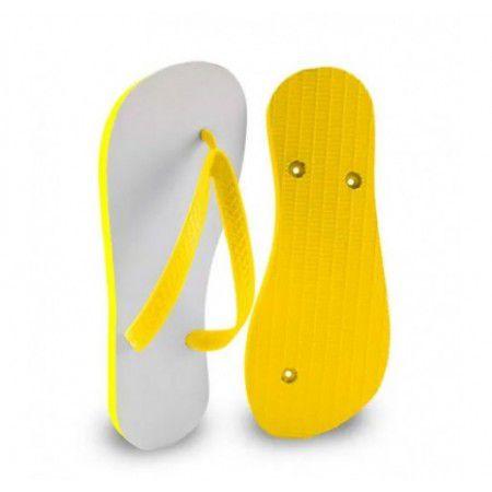 Chinelo Borracha Sublimático com Trad Amarelo Adulto 35/36 Embalado a Vácuo não Suja ou Amarela (JD5000) - 01 Unidade