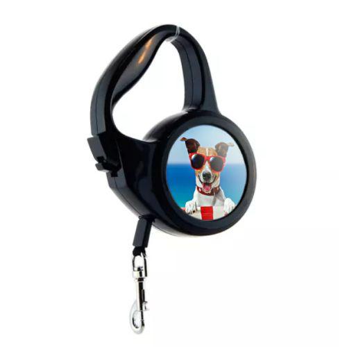 Coleira Guia Retrátil para Cães Sublimática de 3mts Mecolour (C109) - 01 Unidade