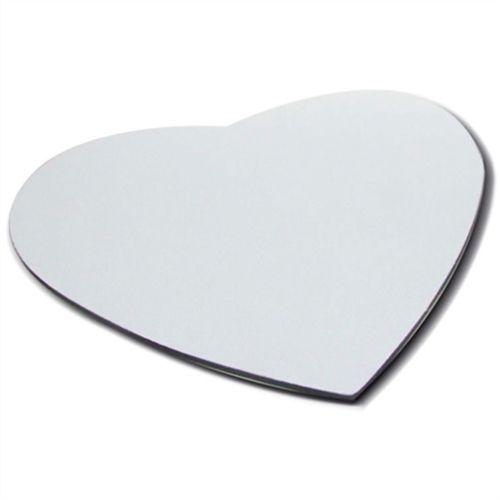 Mouse Pad Extra Branco Coração 21x23cm P/Sublimação Com Base Em Latex Preto de 3mm Antiderrapante - Pacote à Vácuo Com 10 Unidades (AL8001)