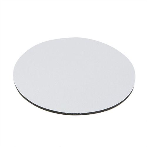 Mouse Pad Extra Branco Redondo 20x20cm P/Sublimação Com Base Em EVA Preto de 3mm Antiderrapante - Pacote à Vácuo Com 10 Unidades (AL8003)