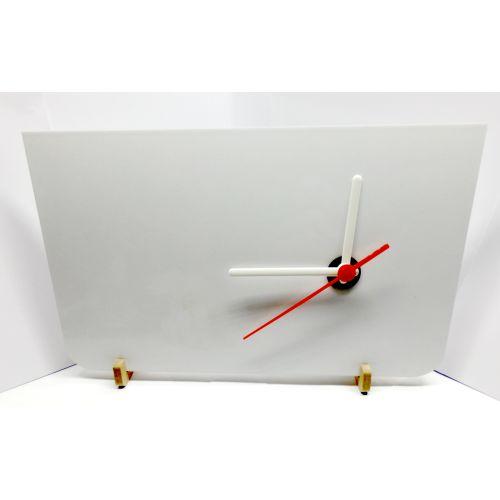 Porta Retrato Relógio de MDF 6mm Branco Retangular Resinado para Sublimação Ultra Brilho 17x27cm (PH1403) - 01 Unidade