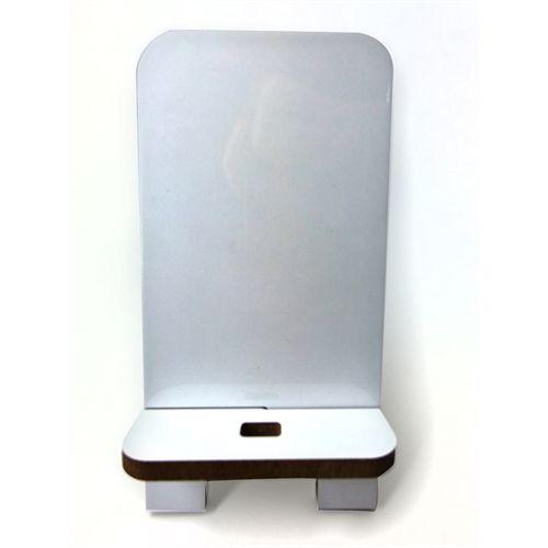 Suporte para Smartphone com Furo para Carregador em Mdf 6mm Branco Resinado para Sublimação Ultra Brilho - 01 Unidade (PH1604)
