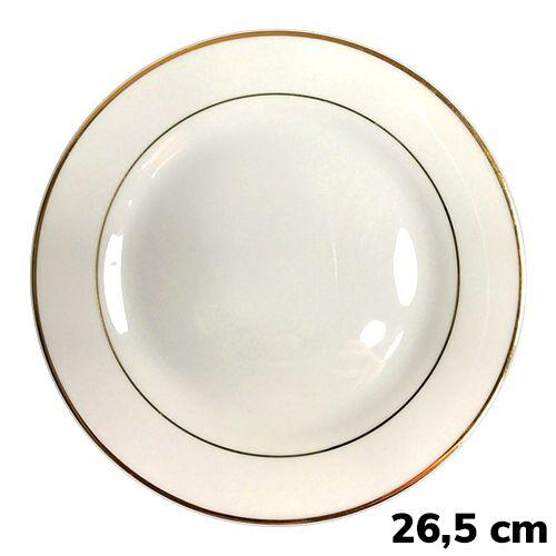 Prato Sublimático Branco Com Borda Dourada - 26,5 cm (B052) - 01 Unidade