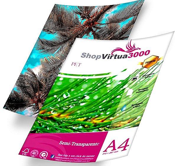 Adesivo Semi Transparente Vinil PET A4 (Laser) - 20 Folhas
