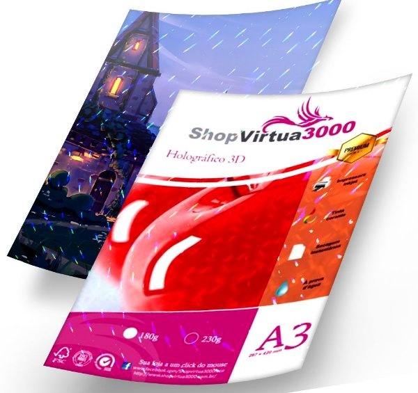Papel Foto Glossy 3D Pontilhado Holográfico 180g - A3 Quality (P084) (Pack c/ 20 Folhas)