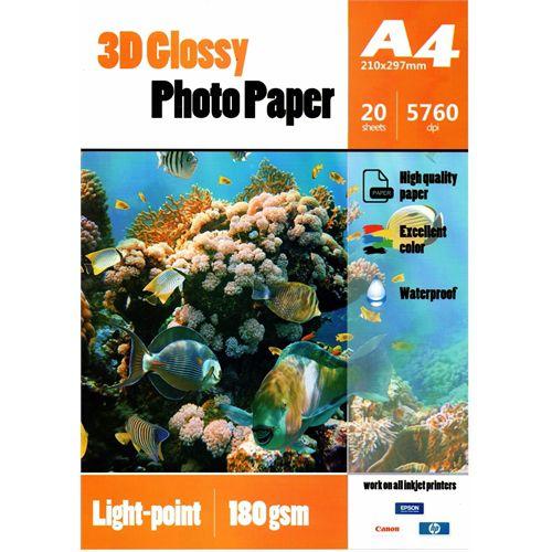 Papel Foto Glossy 3D Pontilhado Holográfico A4 180g (5 Packs de 20 unidades) (P071)