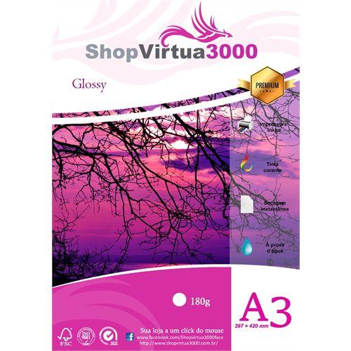 Papel Fotográfico Glossy Quality (resistente à água apenas p/ tintas corantes) 180g/m² (P004) - A3 (297mmx420mm) - 100 folhas