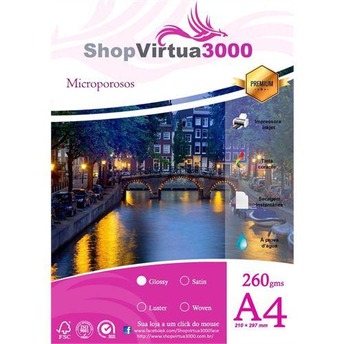 Papel Fotográfico Microporus Glossy (Tinta Pigmentada) 260g/m² - A4 - 100 Folhas (P024)