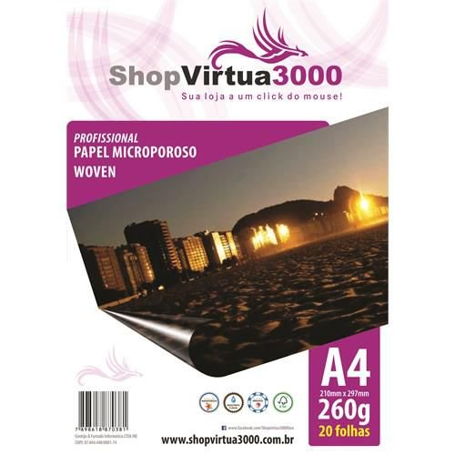 Papel Fotográfico Microporus Woven Fosco (Tinta Pigmentada) 260g/m² - A4 (P027) - 20 Folhas