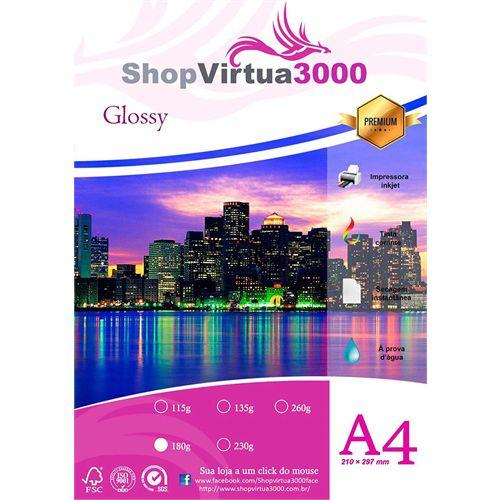 Papel Fotográfico Glossy Quality (resistente à água apenas p/ tintas corantes) 180g/m² - A4 (P003) - 20 folhas