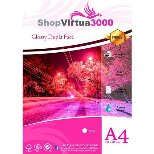 Papel Fotográfico Glossy Dupla Face (resistente à água apenas p/ tintas corantes) 120g/m² - A4 (P045) - 100 folhas