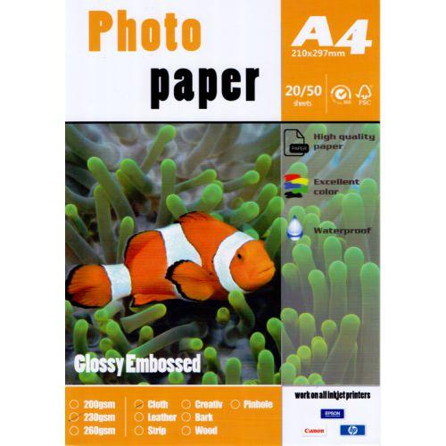 Papel Fotográfico Texturizado Linho Glossy A4 230g (P018) - 100 Folhas