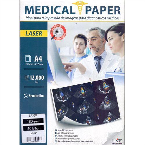 Papel Laser Medical ShopVirtua3000® Semi-Brilho 180g A4 p/ Raio-X - Pasta 40 Folhas (000468)