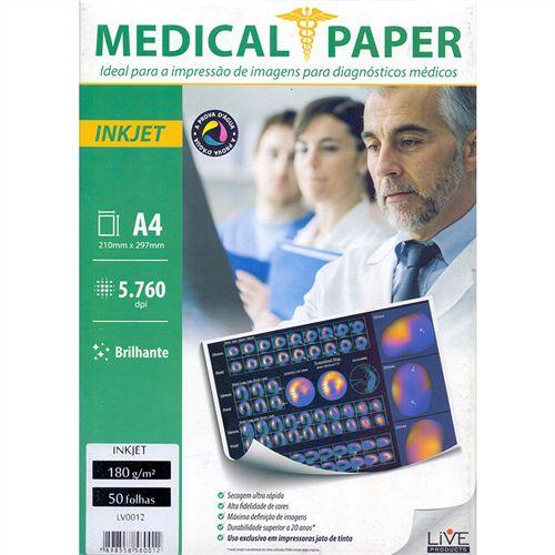 Papel Medical ShopVirtua3000® InkJet Brilhante 180g A4 p/ Raio-X - Pasta 50 Folhas (415)