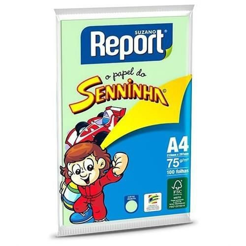 Papel Sulfite Report Senninha Colorido Verde A4 75g/m2 (100 Folhas) - 01 Unidade