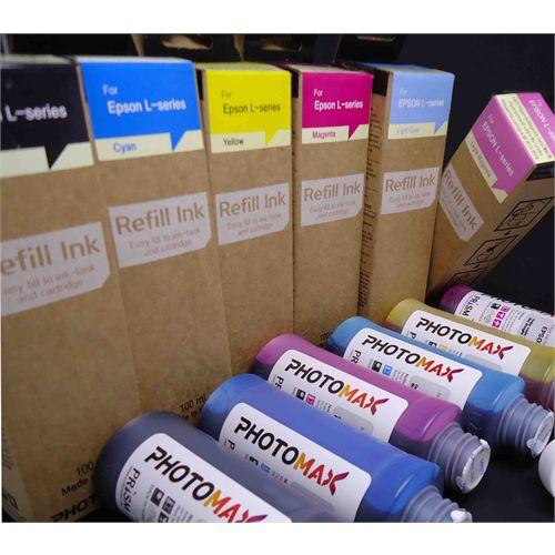 KIT Tinta Corante PRISM PhotoMax Inkjet para Epson L-series Dye 100 ml Fabricado na Coreia 04 Cores 4x100ml