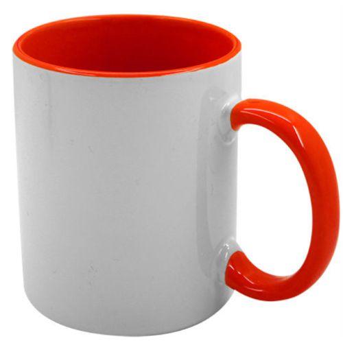Caneca Cerâmica 325 ml Branca Alça e Interior Vermelho ShopVirtua3000® (592) - 01 Unidade