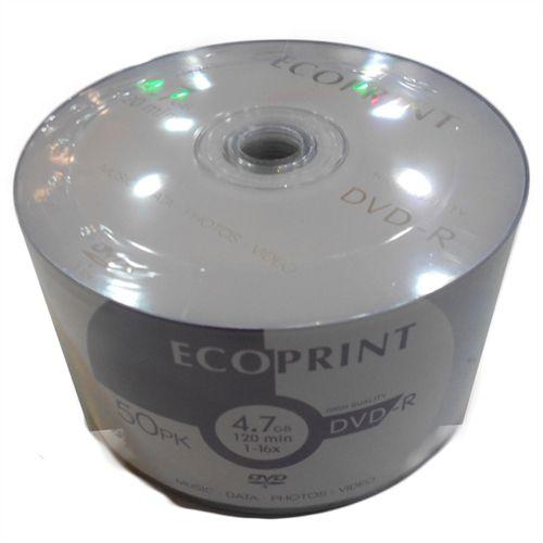 DVD-R EcoPrint 16X 4.7GB C/Logo - 50 Unidades (Shrink Lacrado)