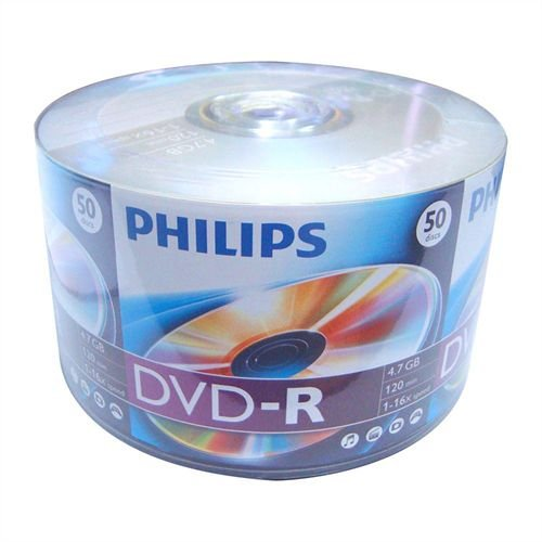 DVD-R Philips 8X 4.7GB C/Logo - 100 Unidades (Shrink Lacrado)