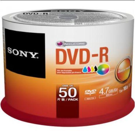 DVD-R Sony 16X 4.7GB C/Logo - 50 Unidades (Shrink Lacrado)