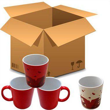 Caneca Cerâmica Mágica Vermelha Com Brilho 325ml Resinada P/ Sublimação (450) - 36 Unidades (Caixa Fechada)