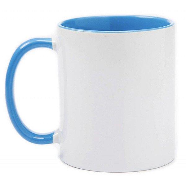 Caneca Cerâmica Branca c/ Interior e Alça Azul Claro 325 ml ShopVirtua3000® (643) - 36 Unidades (Caixa Fechada)