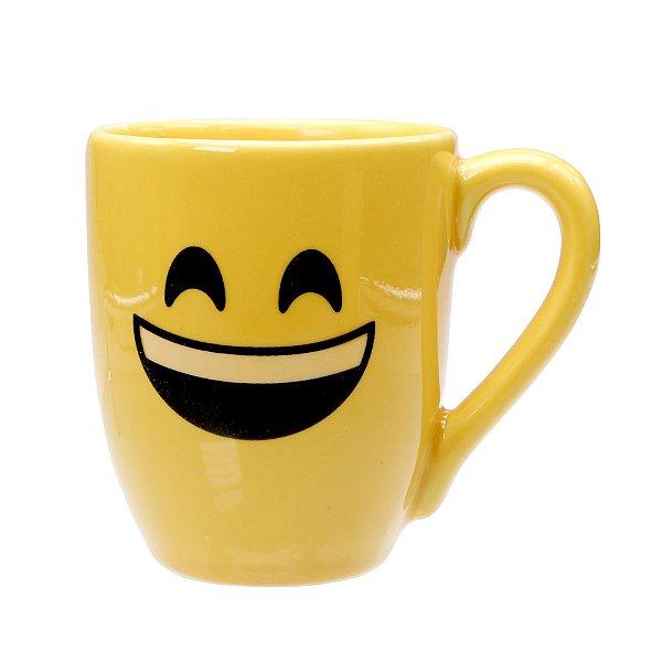 Caneca Cerâmica Amarela 325ml Resinada P/ Sublimação Coleção Emojis do Whatsapp Moledo Feliz ShopVirtua3000® 😄 (cód. 2014) - 01 Unidade