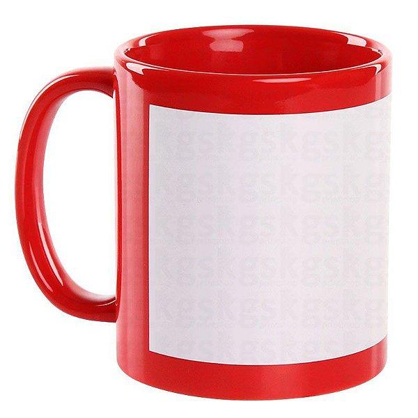 Caneca Cerâmica Vermelha com Tarja Branca 325ml Resinada P/ Sublimação (1945) - 36 Unidades (Caixa Fechada)
