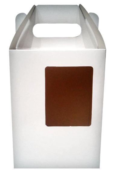 Caixinha para Chopp 475ml  (12x9x16,5cm) Branca Com Visor Em Papel 275g (AL3014) - 10 Unidades