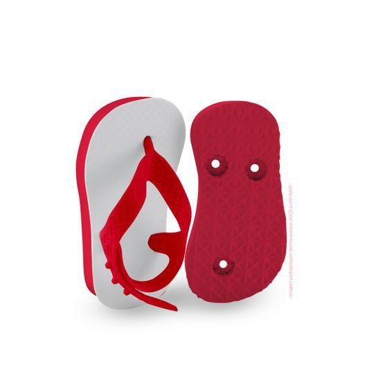 Chinelo Borracha Sublimático Modelo Tira Baby Vermelho 17/18 (com Tira Calcanhar) Embalado a Vácuo não Suja ou Amarela (JD7000) - 01 Unidade