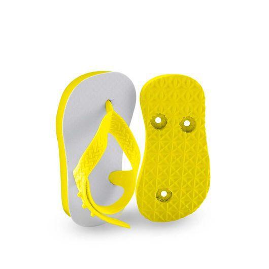 Chinelo Borracha Sublimático Modelo Tira Baby Amarelo 17/18 (com Tira Calcanhar) Embalado a Vácuo não Suja ou Amarela (JD7000) - 01 Unidade