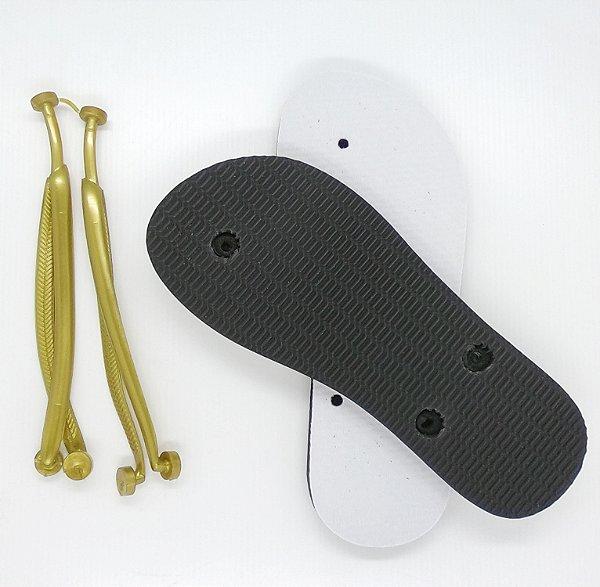 Chinelo Borracha Sublimático Modelo Tira Slim Dourada e Sola Preta Adulto 35/36 Embalado a Vácuo não Suja ou Amarela (JD8040) - 01 Unidade